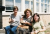 Giselle Rivest, Helene Chartrand and Catherine Dombroskie sharing a cup of tea in the sun.